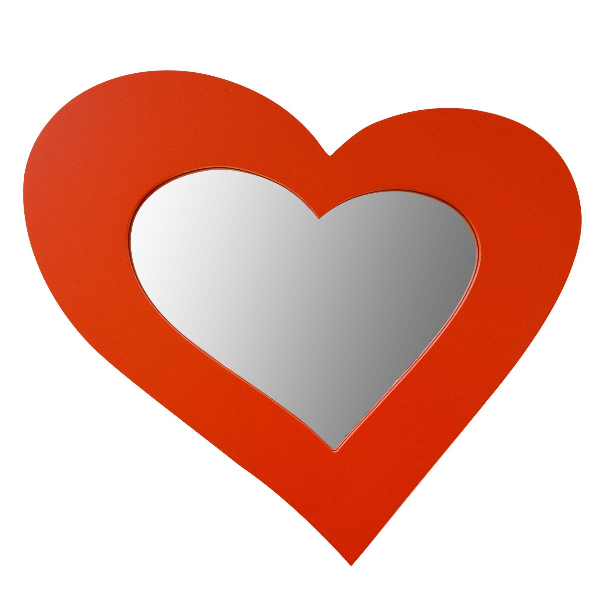 miroir mdf coeur rouge 30x26cm -