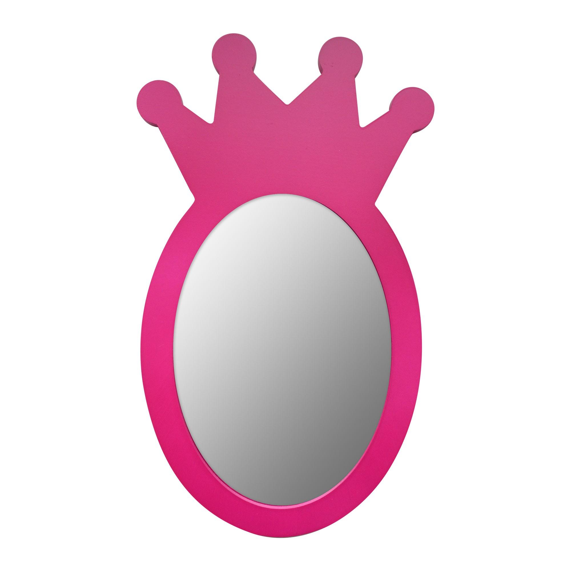 miroir mdf couronne rose 30x18cm -