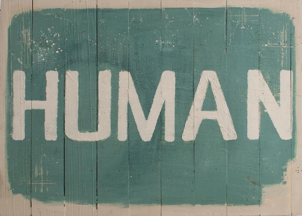 plaque bois vint human 50x70 -