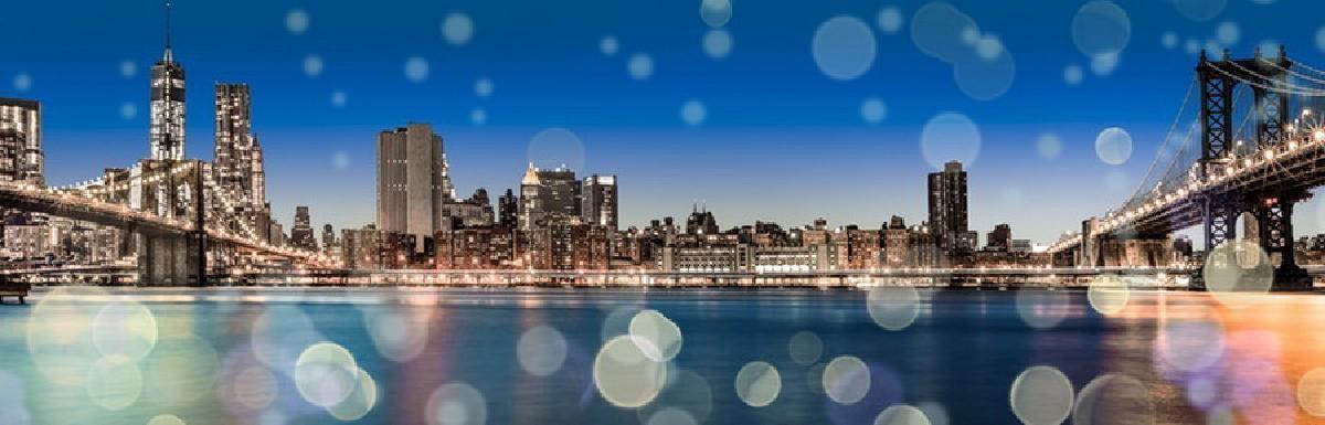 TOILE IMP. LEDS NY BLUE SKY 45X140 -