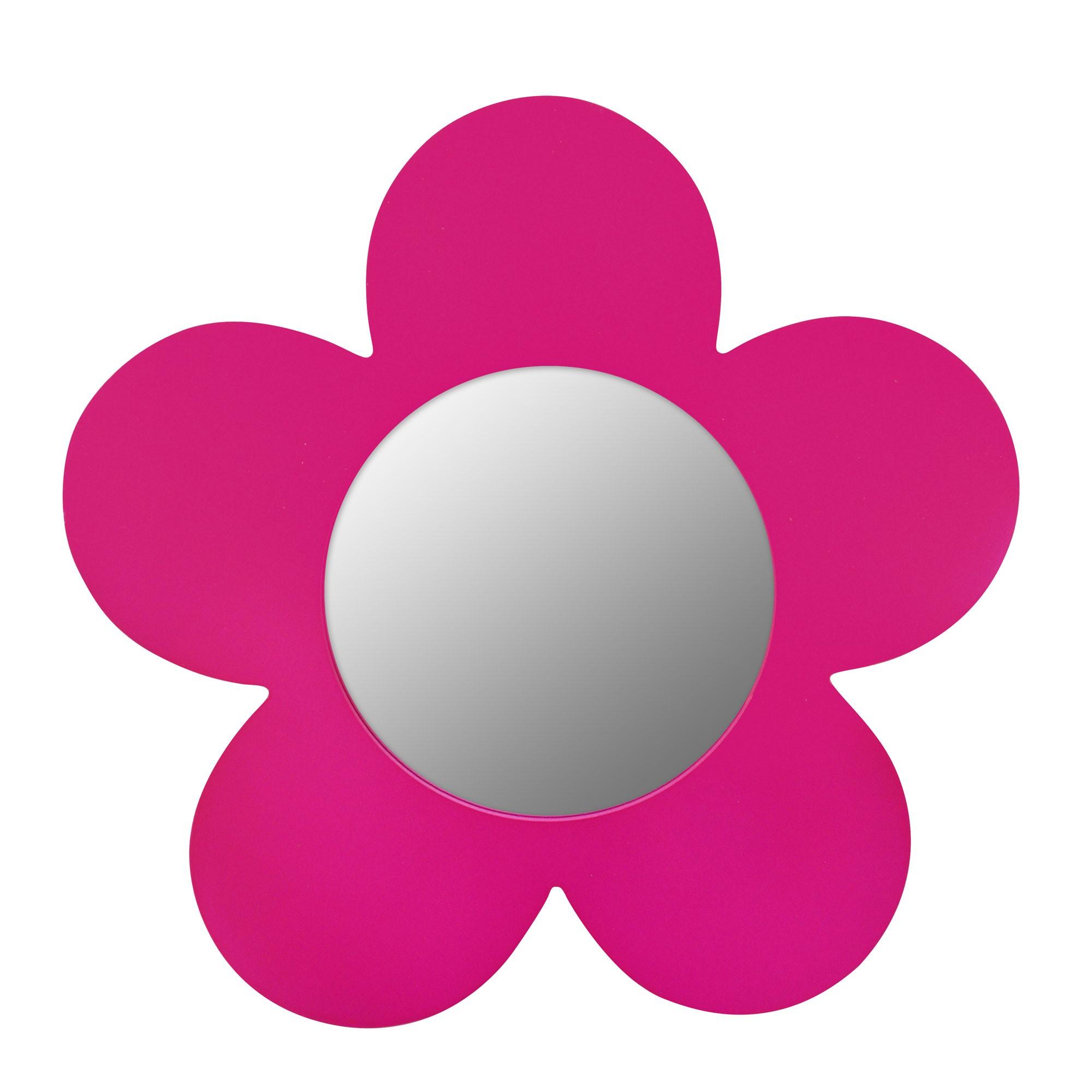 miroir mdf fleur rose 30x30cm