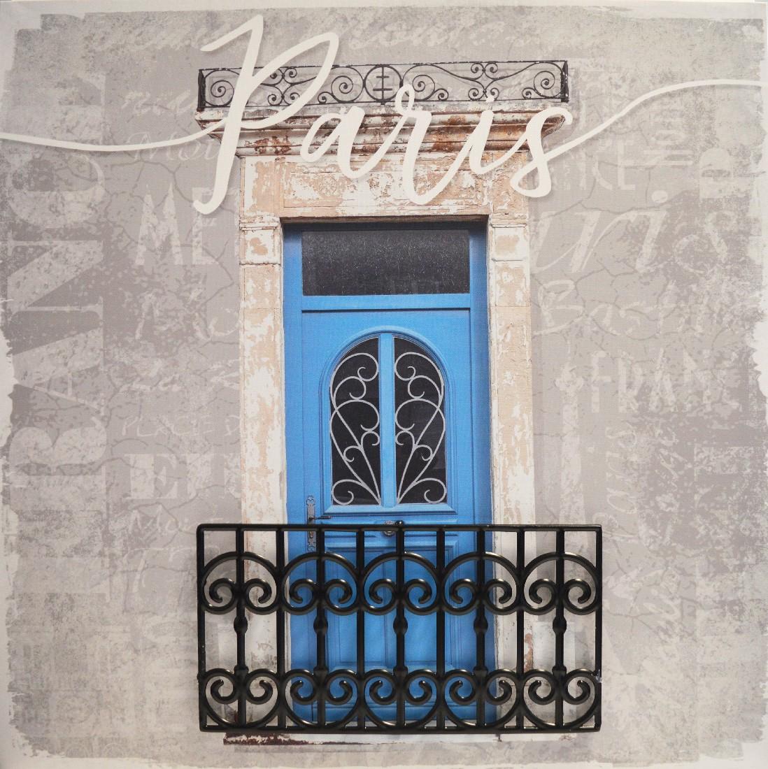 toile imp.metal paris bleu 50x50cm