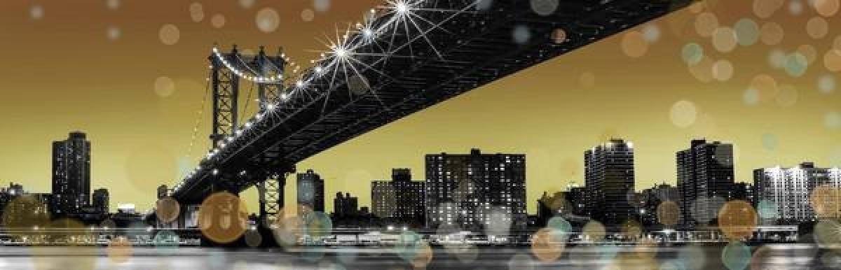 TOILE IMP. LEDS NY GOLD SKY 45X140