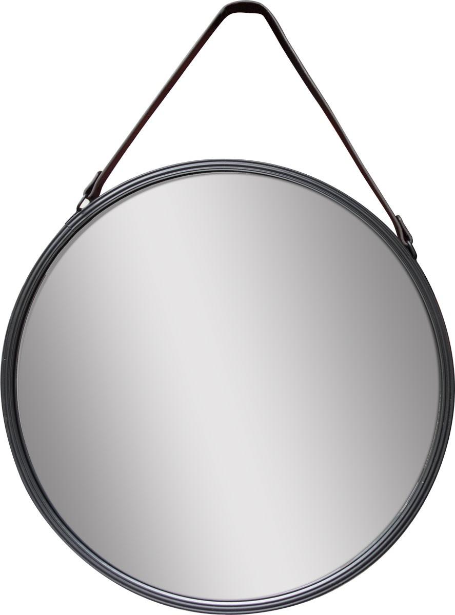 miroir rond acier-cuir diam.55 cm