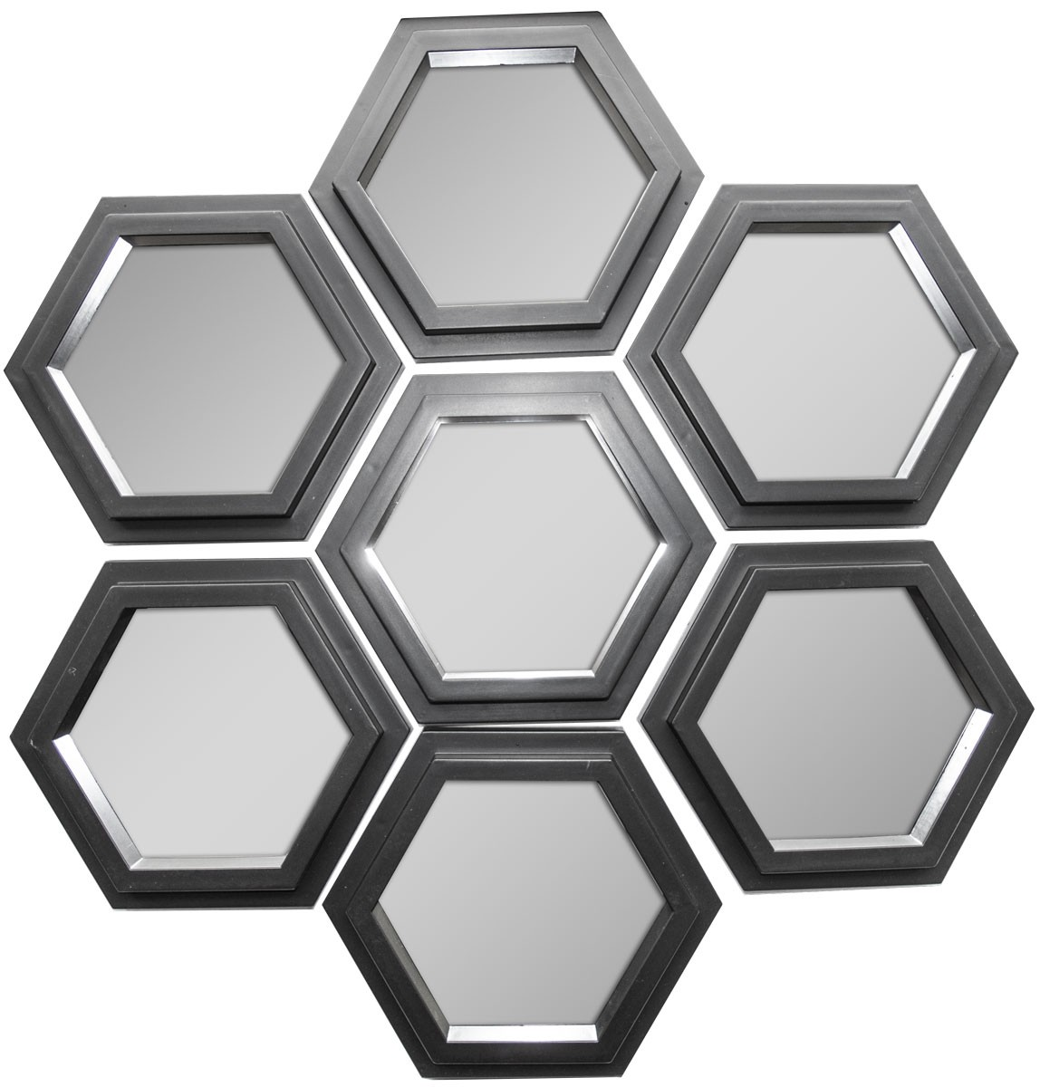 miroir hexagonal x7 noir 20,5x23 cm