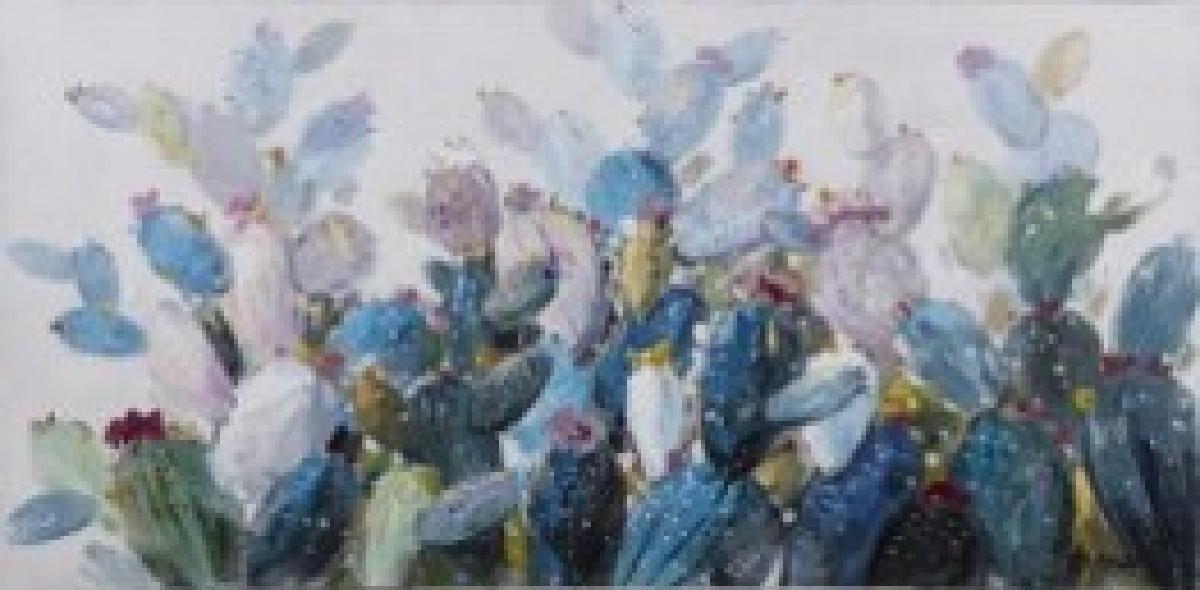 toile peinte blue cactus hor.70x150