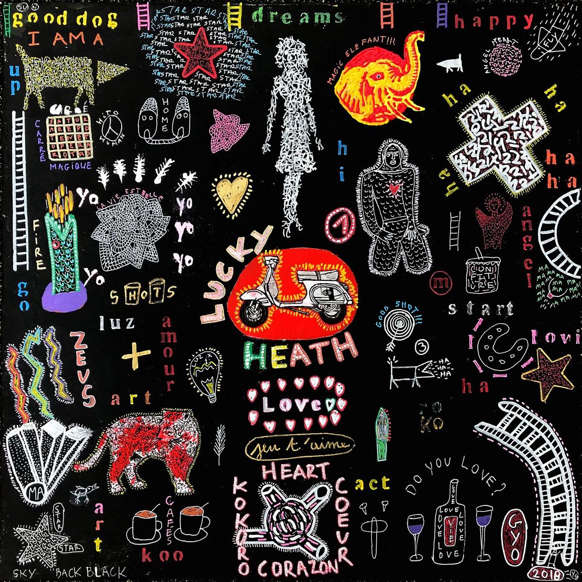 Scooter, une oeuvre de l'artiste Gyo, éditée sur plexiglass en haute définition. L'artiste emprunte les codes du street art et du pochoir pour peindre Scooter. Il créé un tableau en relief et gorgé de couleurs. Sa peinture, appliquée en 3D est inscrite sur un fond noir et épais étalé au couteau. Son oeuvre Scooter peuplée d'illustrations en référence à la santé, à l'alcool, à l'amour nous questionne sur les dangers de la vie. Un méli mélo coloré et dramatique qui rappelle les pays du soleil. Tirage limité - Fabrication Française - Made in France