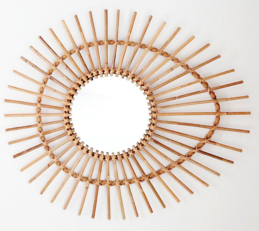miroir rotin goutte 29x35 cm