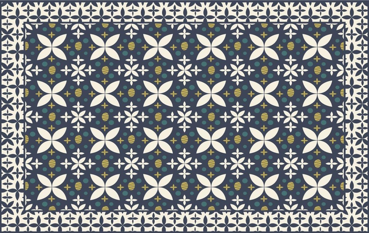 tapis marguerite bleu